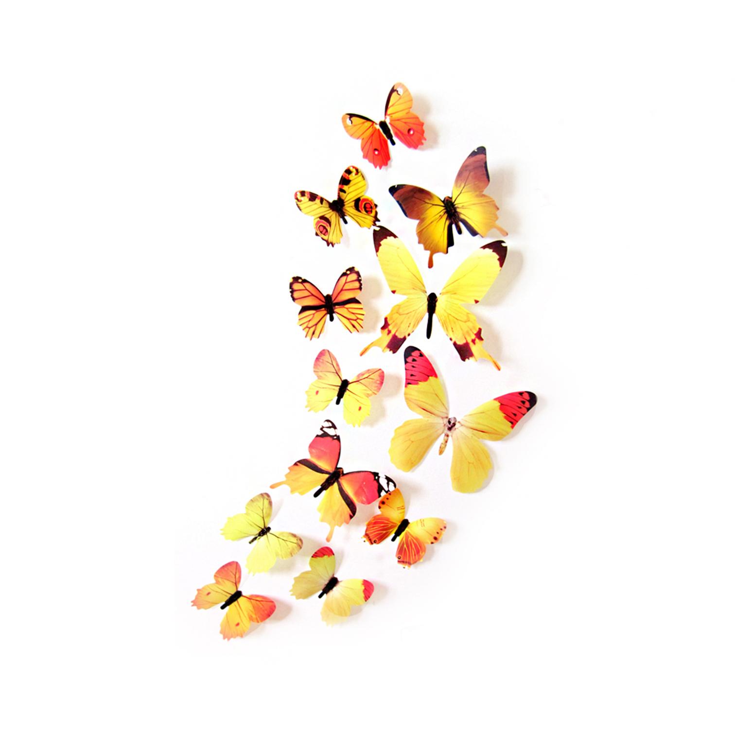 3D-Schmetterlinge-Blumen-12er-Set-Dekoration-Wandtattoo-Wandsticker-Wanddeko Indexbild 16