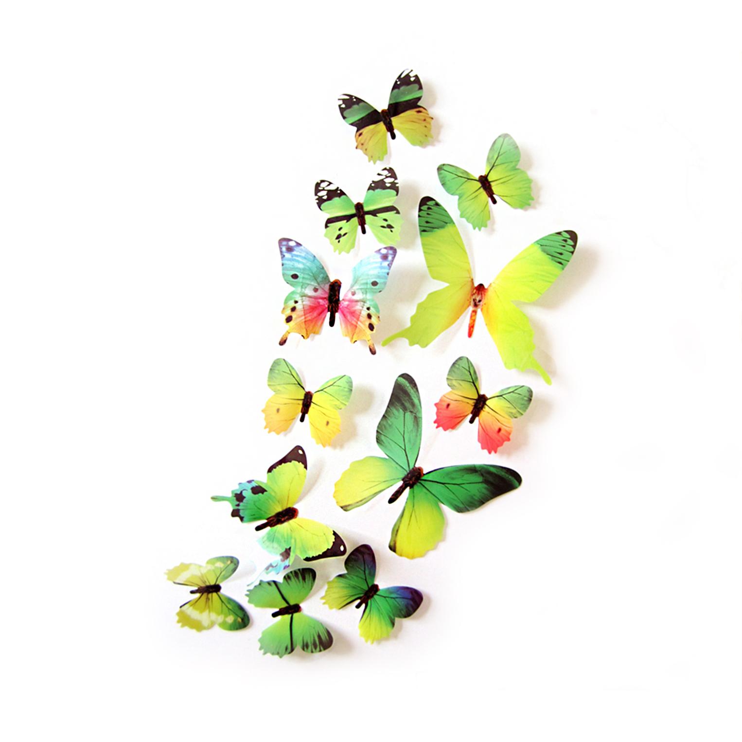 3D-Schmetterlinge-Blumen-12er-Set-Dekoration-Wandtattoo-Wandsticker-Wanddeko Indexbild 14
