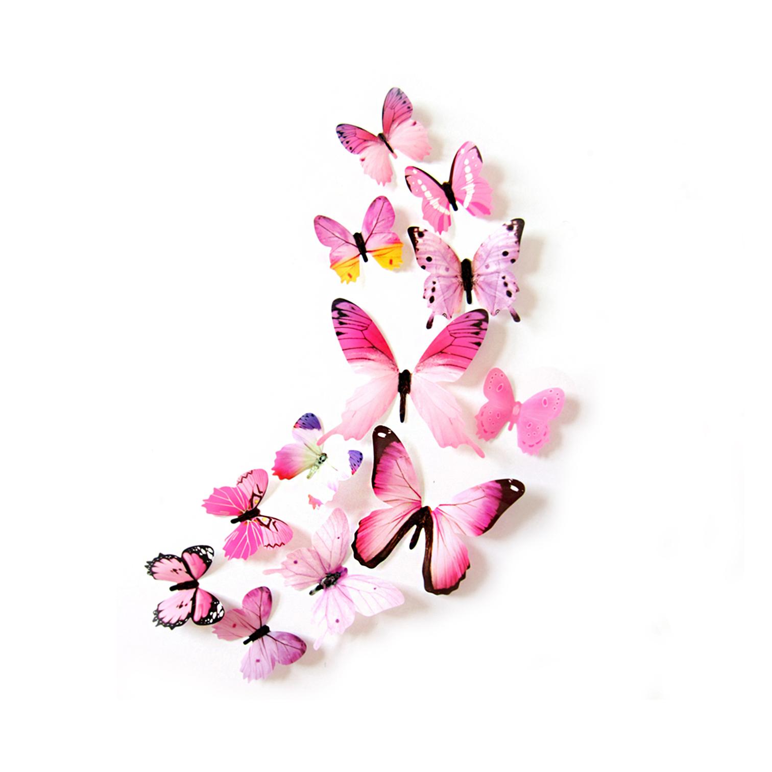 3D-Schmetterlinge-Blumen-12er-Set-Dekoration-Wandtattoo-Wandsticker-Wanddeko Indexbild 15