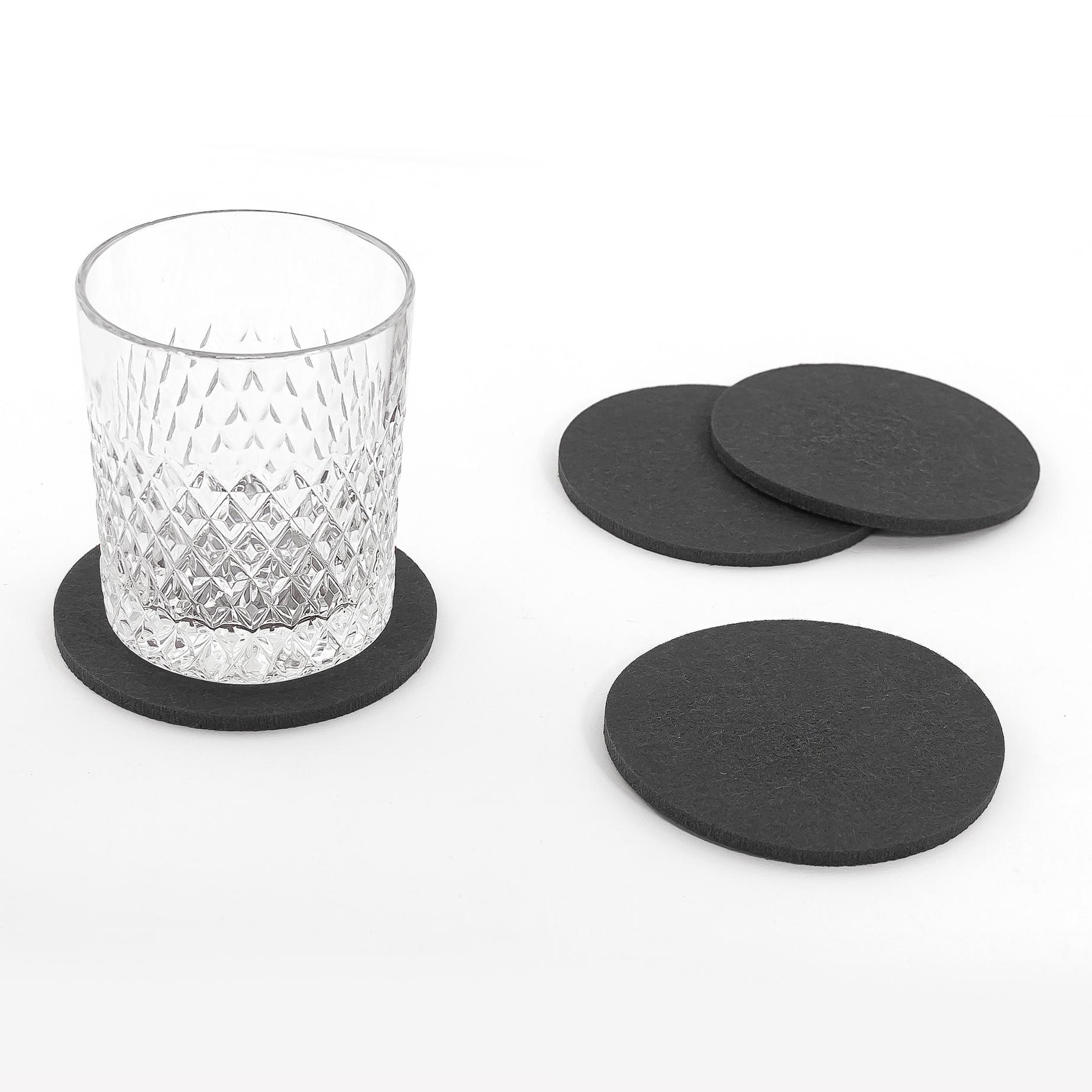 filzuntersetzer rund 4er pack tisch bar glasuntersetzer untersetzer aus filz ebay. Black Bedroom Furniture Sets. Home Design Ideas