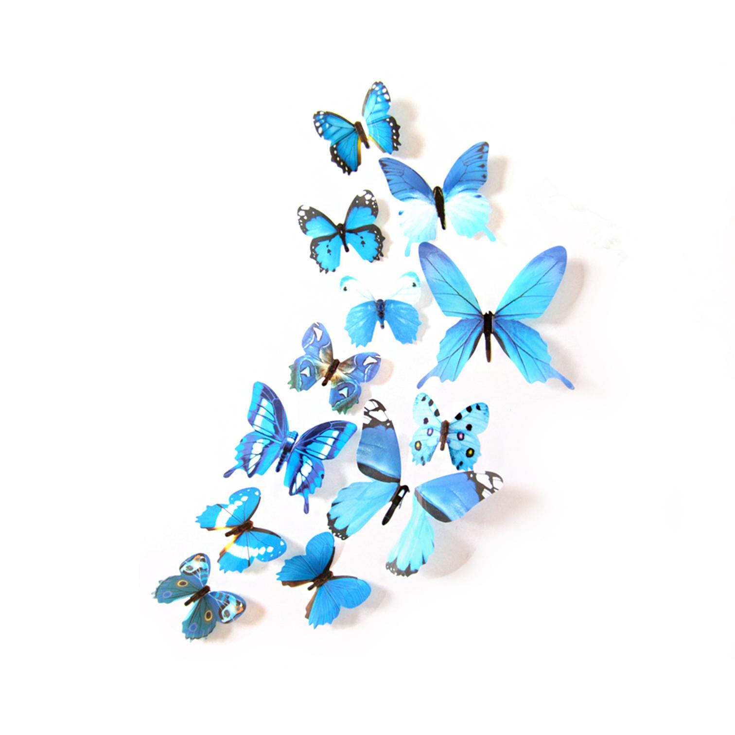3D-Schmetterlinge-Blumen-12er-Set-Dekoration-Wandtattoo-Wandsticker-Wanddeko Indexbild 17